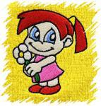 Dětský ručník s výšivkou - HOLČIČKA S KYTIČKOU