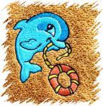 Dětský ručník s výšivkou - DELFÍNEK