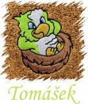 Dětský ručník s výšivkou - ODPOČÍVAJÍCÍ PAPOUŠEK a  jméno