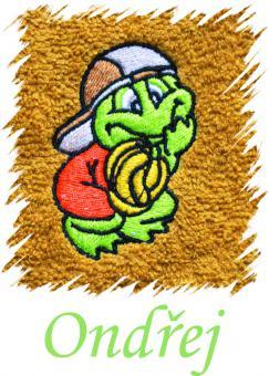 Dětský ručník s výšivkou - ŽABÁK a jméno