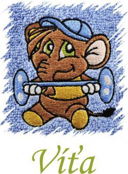 Dětský ručník s výšivkou  - SLON SILÁK a jméno
