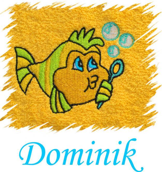 Dětský ručník s výšivkou  - RYBIČKA a jméno