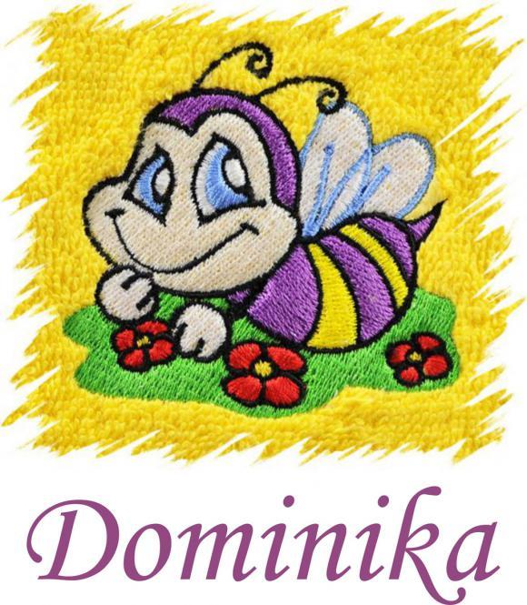 Dětský ručník s výšivkou - VESELÁ VČELKA a jméno